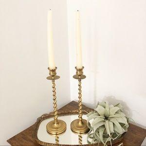 Vintage Gold Spiral Candlestick Candle Holder Boho